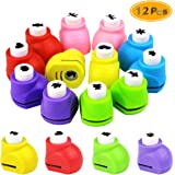 BcPowr 12PCS Mini Paper Craft Punches, Colorful Crafts Puncher Paper Scrapbooking Punches Craft DIY Printing Shaper Puncher