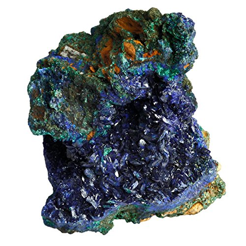 rockcloud Natural Raw Blue Azurite Mineral Healing Crystal Irregular Home Decoration Gemstone Specimen (Large Malachite)