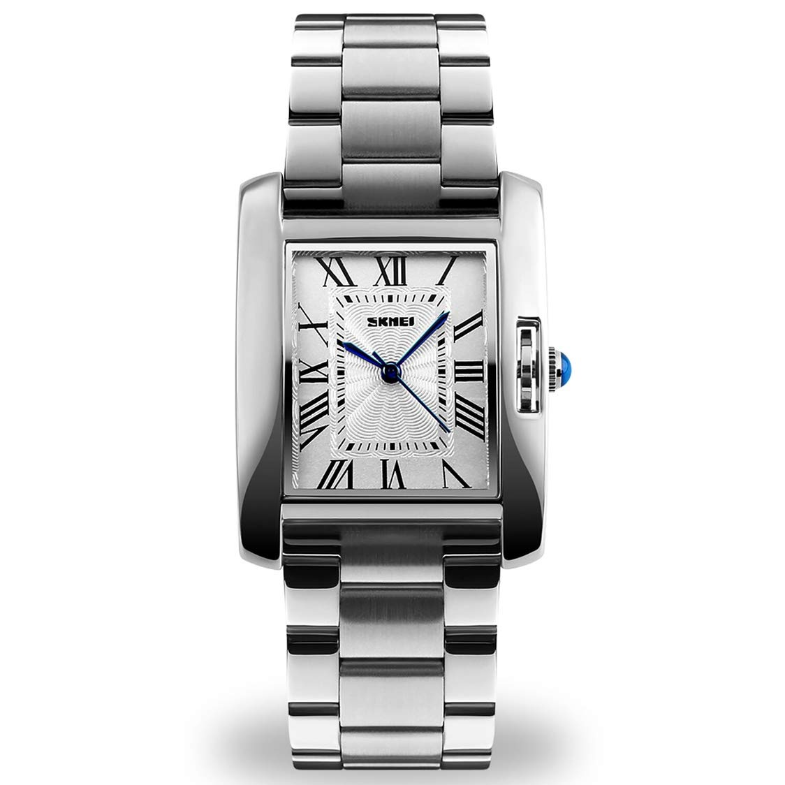 Women Lady Dress Analog Quartz Watch with Stainless Steel Band, Casual Fashion Waterproof Watches Roman Numeral Diamond Rhinestone Luminous Wristwatch Silver