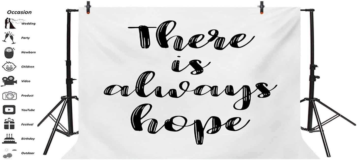 Hope 10x15 FT Photo Backdrops,There is Always Hope Hand Lettering Style Illustration Inspirational Vintage Background for Kid Baby Boy Girl Artistic Portrait Photo Shoot Studio Props Video Drape Vinyl
