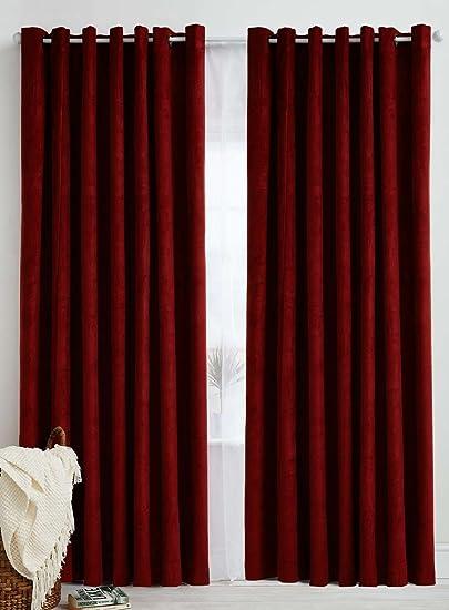 Italian Fab (Pack of 2) Polyester Plain Crush Curtains (Door - 4 x 7 Feet, Dark Maroon)