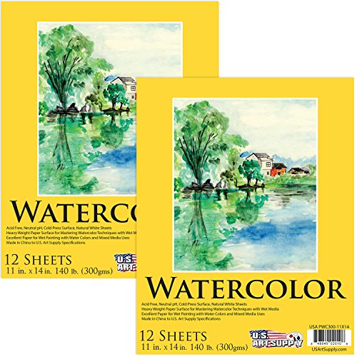 U.S. Art Supply 11'' x 14'' Premium Heavy-Weight Watercolor Painting Paper Pad, 60 Pound (300gsm), Pad of 12-Sheets (Pack of 2 Pads) by US Art Supply