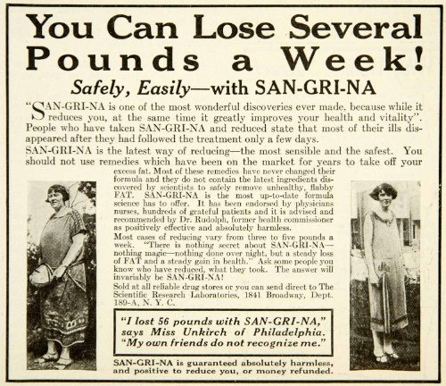 1926 Ad Sangrina Health Beauty Weight Loss Portrait Woman Unkirch Philadelphia - Original Print Ad from PeriodPaper LLC-Collectible Original Print Archive