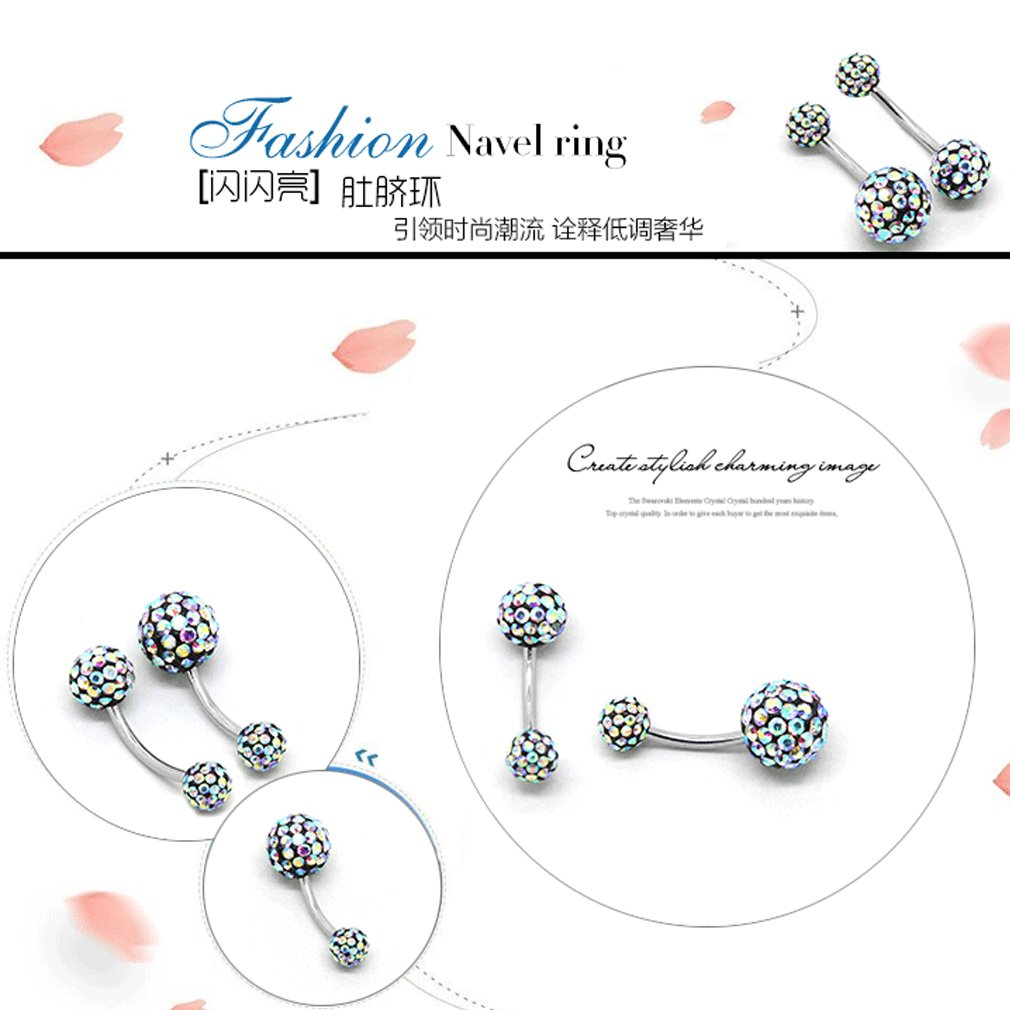 THENICE black 1.6 mm Full Crystal Ball Navel Ring Belly Button Body Piercing Multi-color