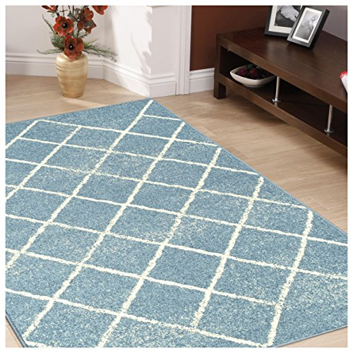 Superior Lattice Collection Area Rug, 6mm Pile Height with Jute Backing, Affordable and Contemporary Rugs, Modern Geometric Windowpane Pattern - 5' x 8' Rug, Blue