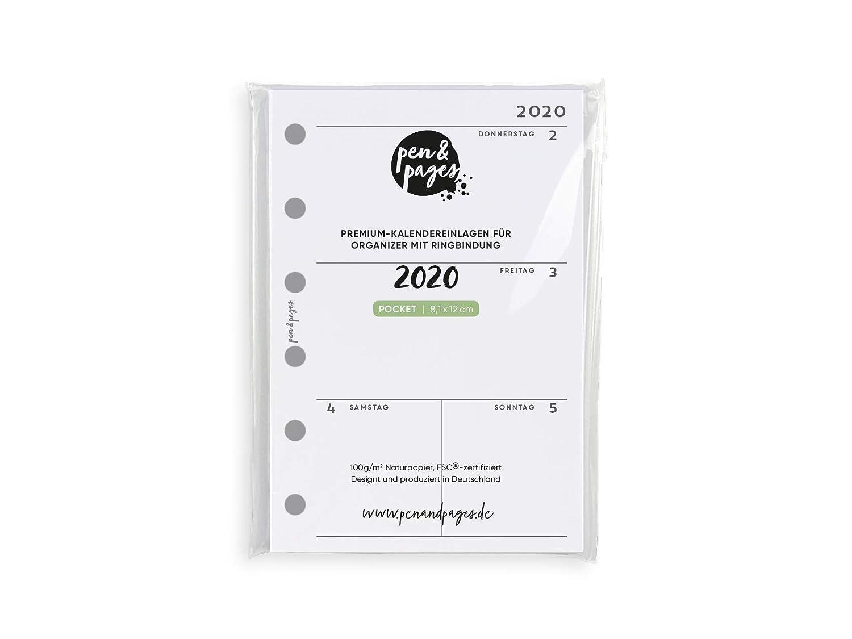 6 L/öcher Pocket 8,1 x 12 cm Januar bis Dezember Pocket Organizer simple 1 Woche auf 2 Seiten pen /& pages/® 2020 Kalender
