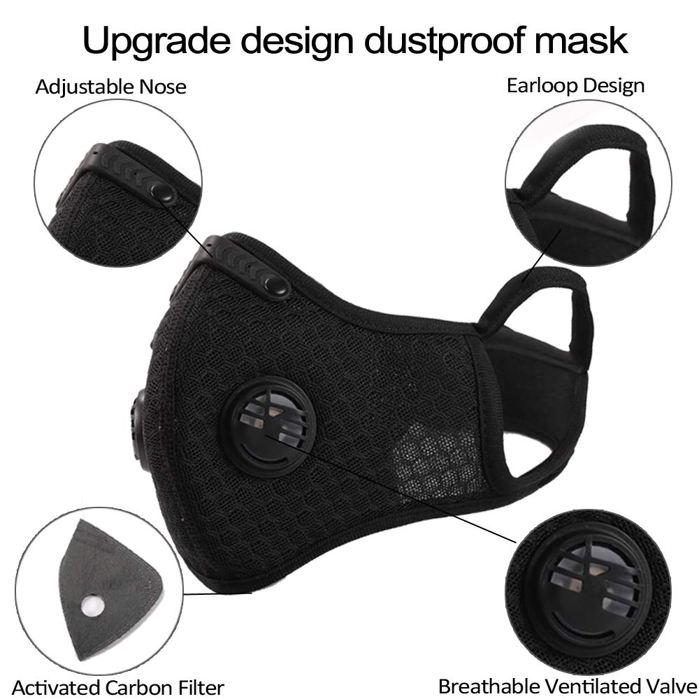 Novemkada Dust Mask - Activated Carbon N99 Earloop Dustproof Masks with Extra Filter Cotton Sheet and Valves for Exhaust Gas, Pollen Allergy, PM2.5, Running, Cycling, Outdoor Activities (Black+Gray) by Novemkada (Image #5)