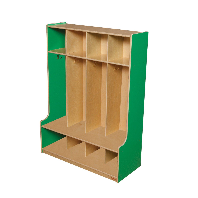 Wood Designs 51004G Green Apple 4 Section Seat Locker, 49'' Height, 18'' Width, 51.5'' Length