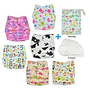 HappyCell Reusable Baby Pocket Cloth Diapers & Accessories 6 Nappies+6 Inserts+1 Wet Bag All-in-One Washable Cloth Diapers Adjustable Universal Size(Undertint Pack)