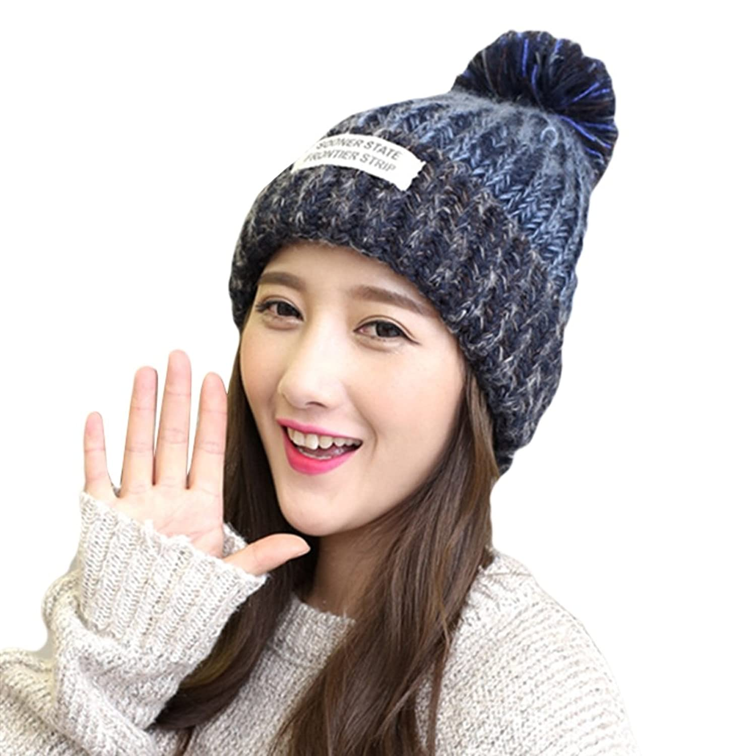 Autumn Winter New Women Girl Knitted Patch Lovely Cute Mixed Hat Caps With Balls