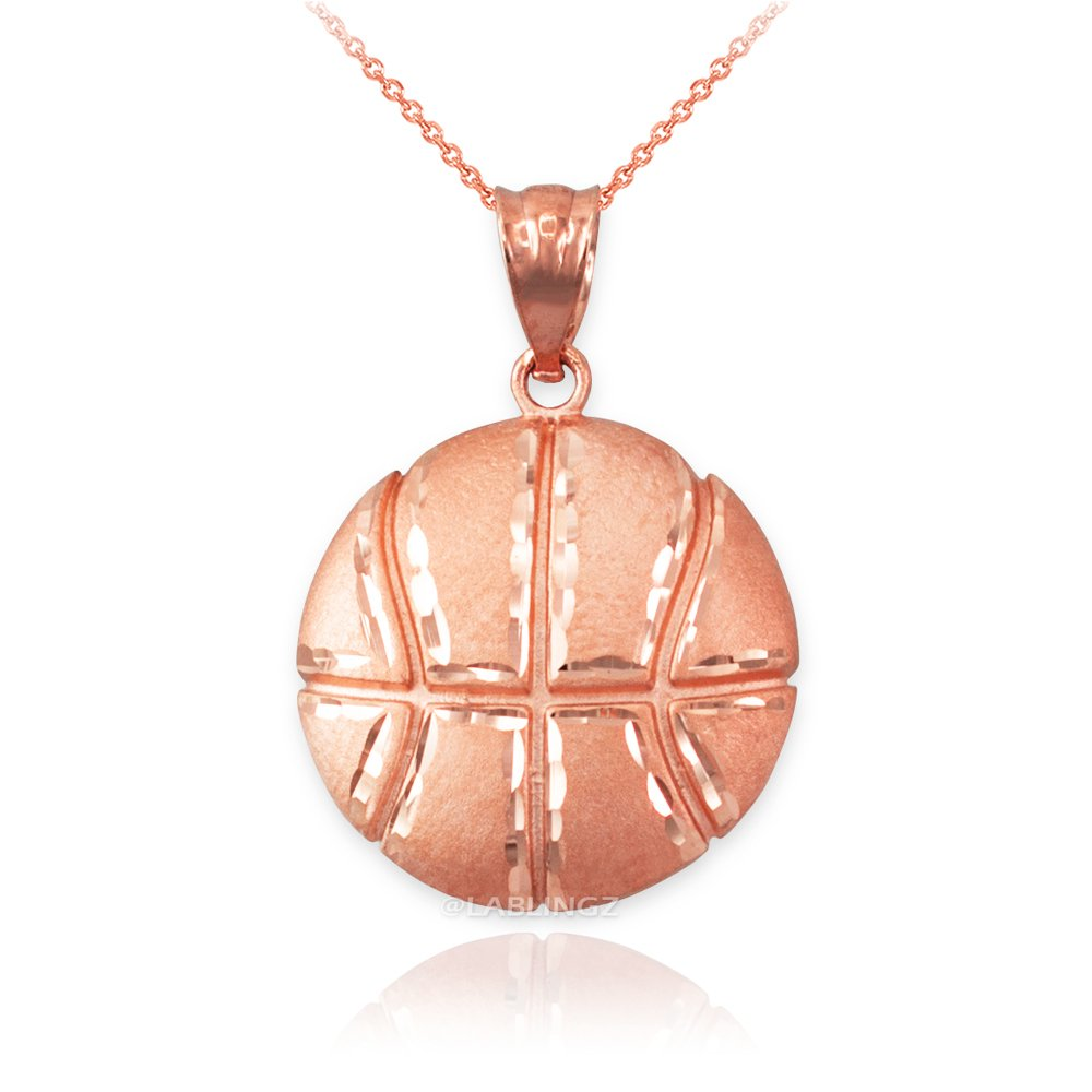LA BLINGZ 14K Rose Gold Basketball Necklace