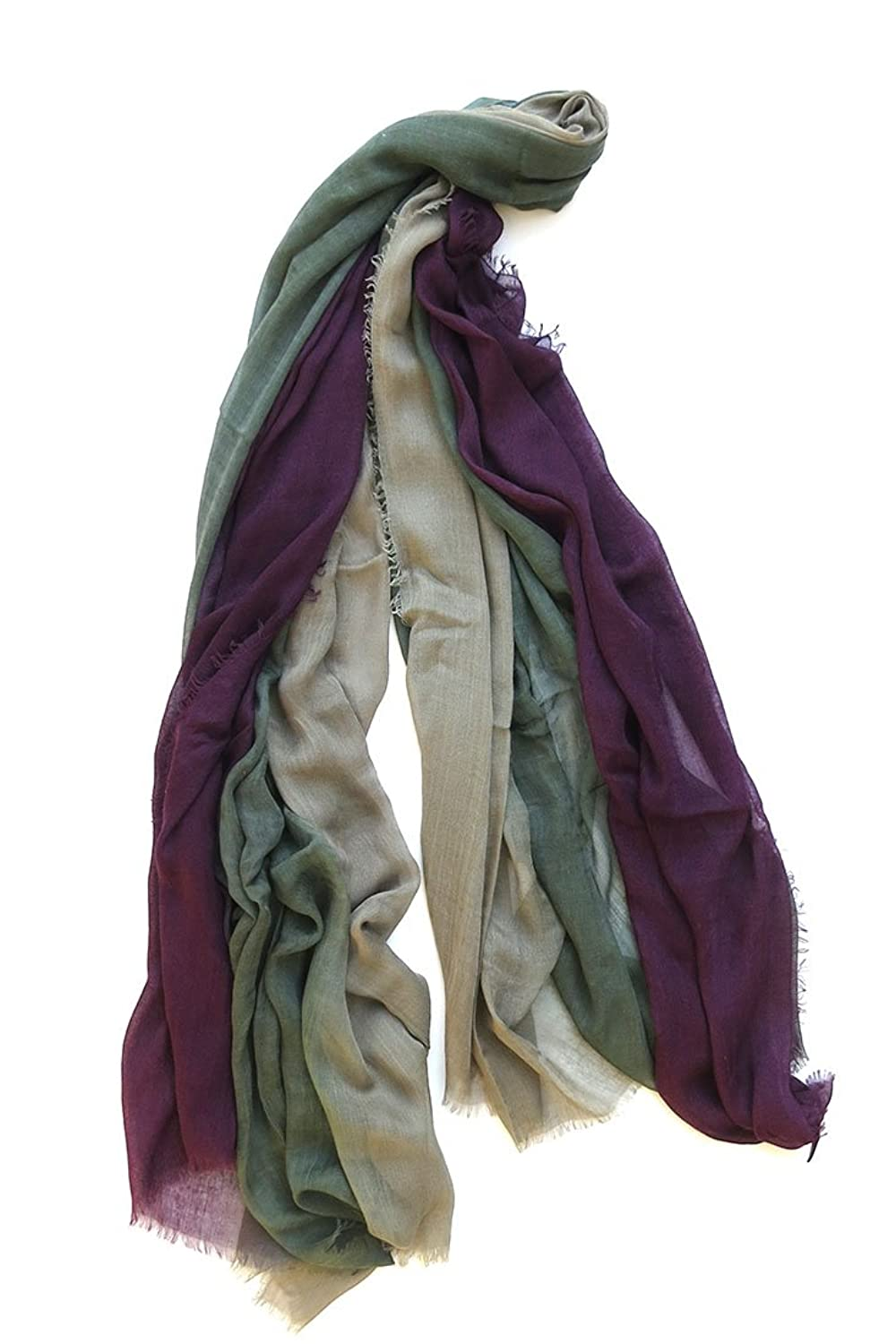 Blue Pacific Cashmere and Silk Dream Scarf Eggplant, Olive, Grey