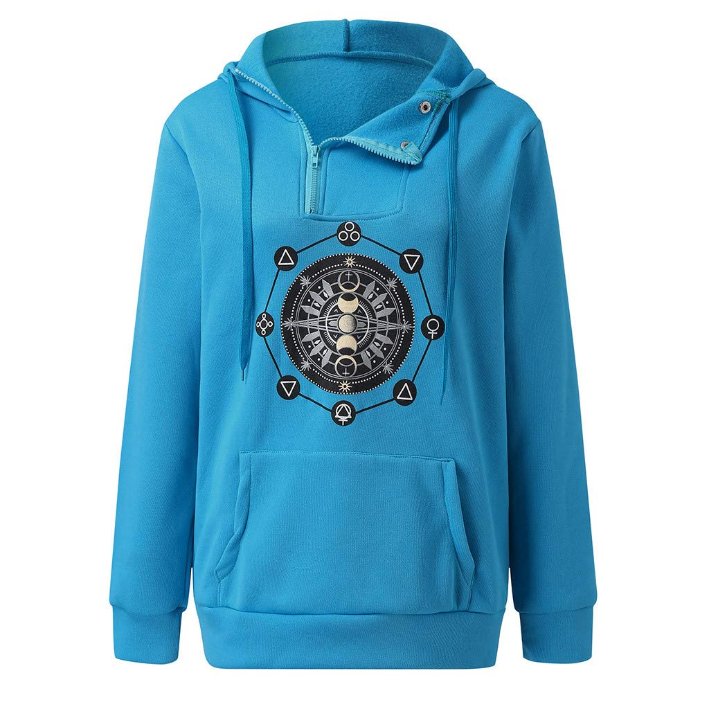 〓COOlCCI〓Long Pullover Hoodie for Women,Billie Eilish Sweatshirts Drawstring Zipper Button Novelty Hoodies with Pocket Blue by COOlCCI_Womens Clothing