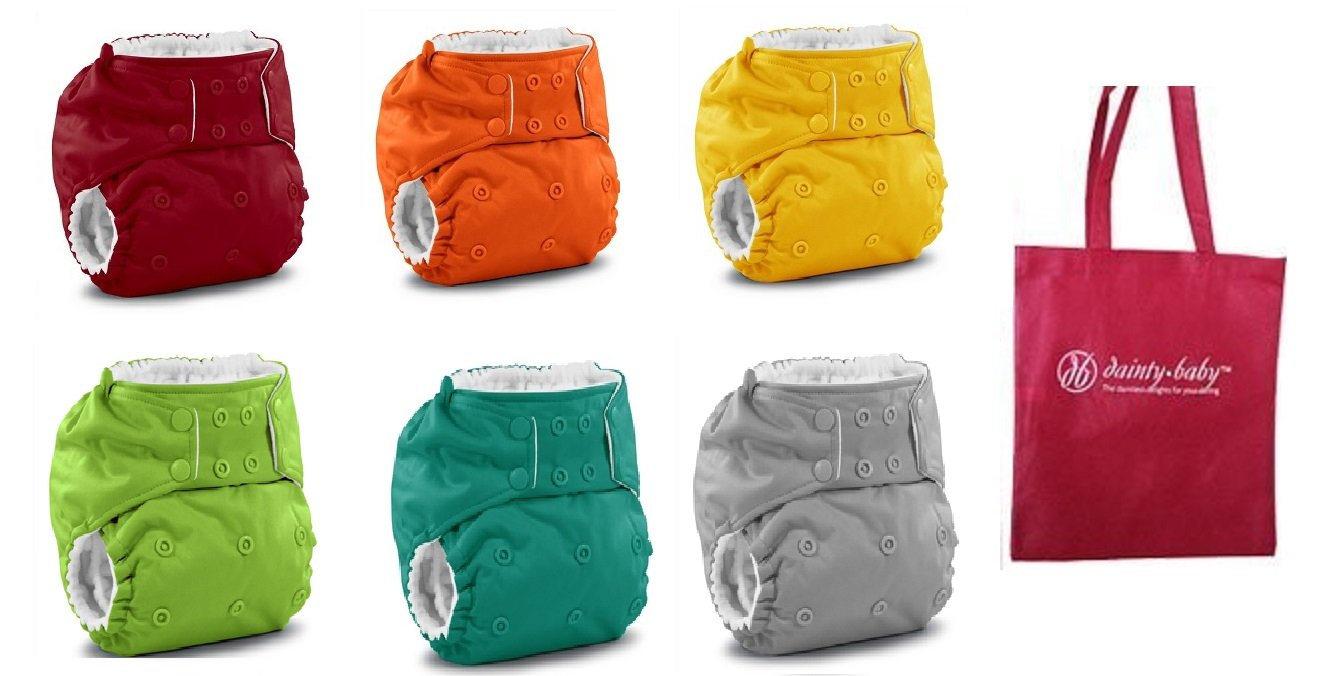 Rumparooz One Size Cloth Pocket Diaper Snaps, 6 pack, Gender Neutral Colors with Reusable Dainty Baby Bag Bundle