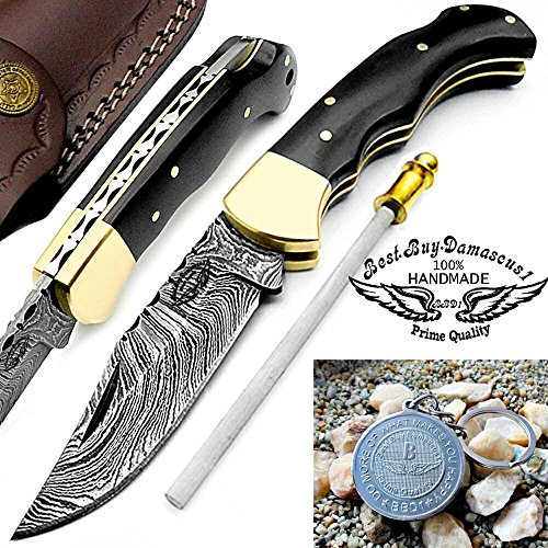 "Buffalo Horn 6.5"" Handmade Damascus Steel Brass Bloster plus Sharpening Rod Folding Pocket Knife Back Lock 100% Prime Quality"