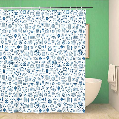 Awowee Bathroom Shower Curtain Marketing Doodle Site Signs and Symbols Social Media Digital 60x72 inches Waterproof Bath Curtain Set with Hooks (Difference Between Social Marketing And Social Media)