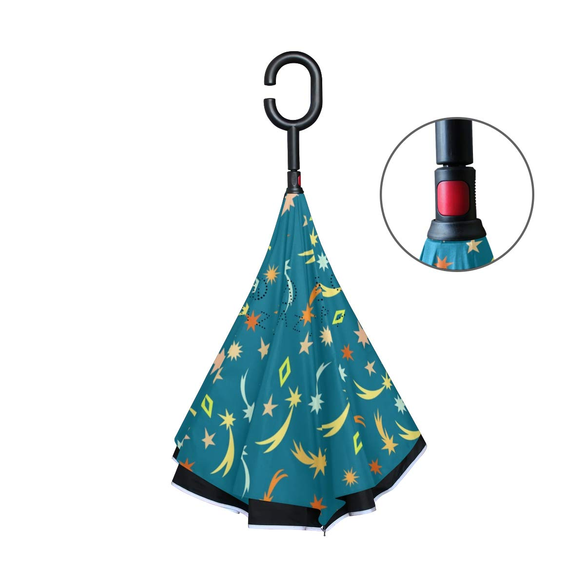 senya Double Layer Inverted Umbrellas Cute Meteor Stars Pattern Folding Umbrella Windproof UV Protection for Car Use Rain Outdoor With C-Shaped Handle by senya (Image #3)