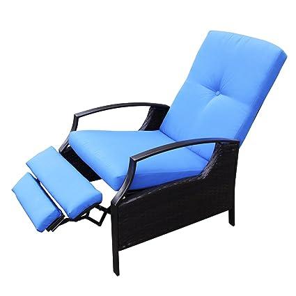 Amazon.com: Outsunny - Silla reclinable ajustable de mimbre ...