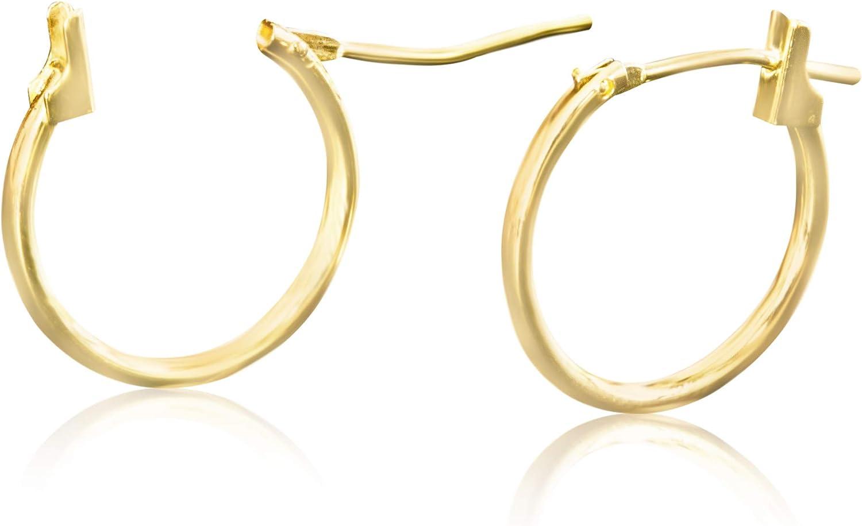 14k Solid Yellow Gold Jewelry Open Round Lobe Large Big Tiny Small Thin Mini Ear Studs Studs Loop Clicker Huggie Hoop Ring Piercing Earrings For Women Girls Teens Hypoallergenic Nickel Free