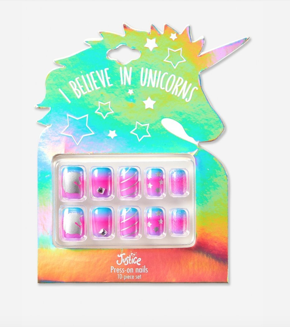 Amazon.com : Justice Girls Press-on Nails I Believe in Unicorns : Beauty