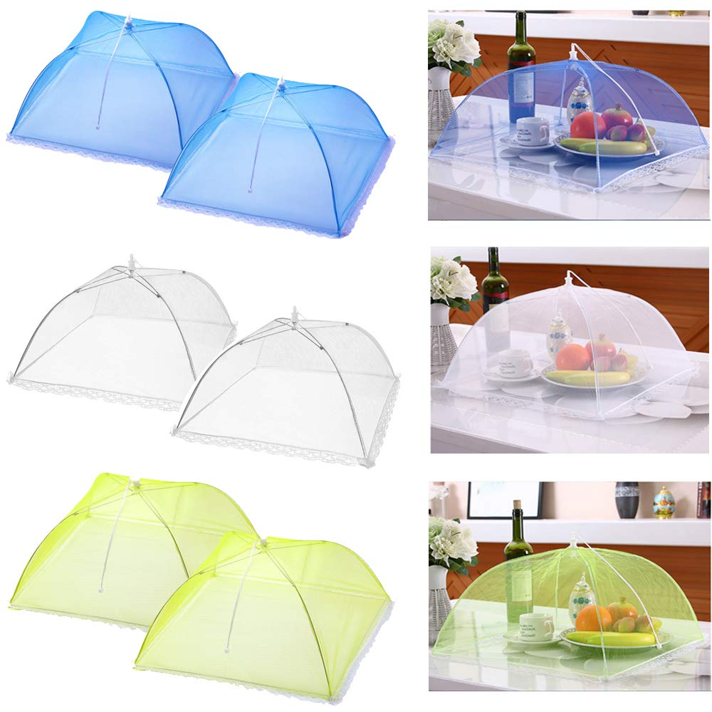 Casolly 17''x17'' Pop-Up Mesh Screen Food Cover Tents - Keep Out Flies, Bugs, Mosquitos - Reusable and Collapsible-Three Color(6 Pack) by CASOLLY