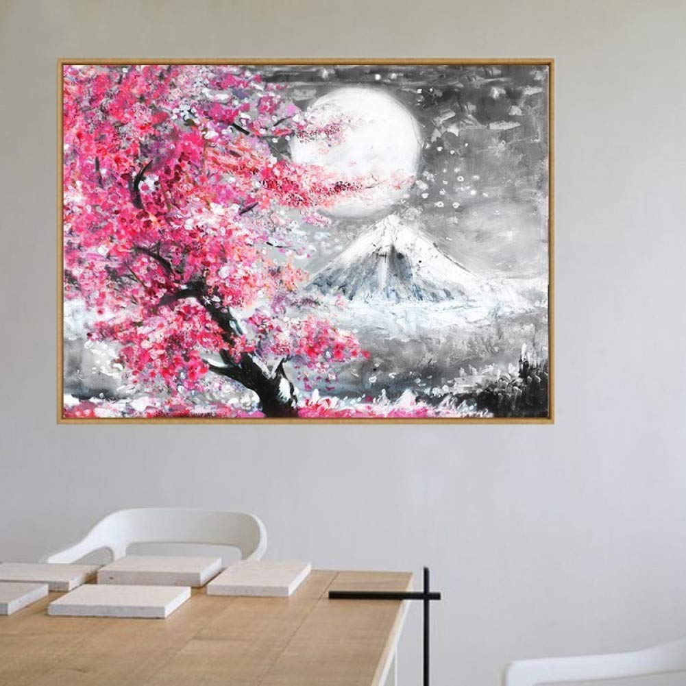 LSWMW Canvas Painting Mount Cherry Blossom Landscape Japan Canvas Painting Wall Art Poster Oil Prints Pictures for Living Room Kitchen Home Decor