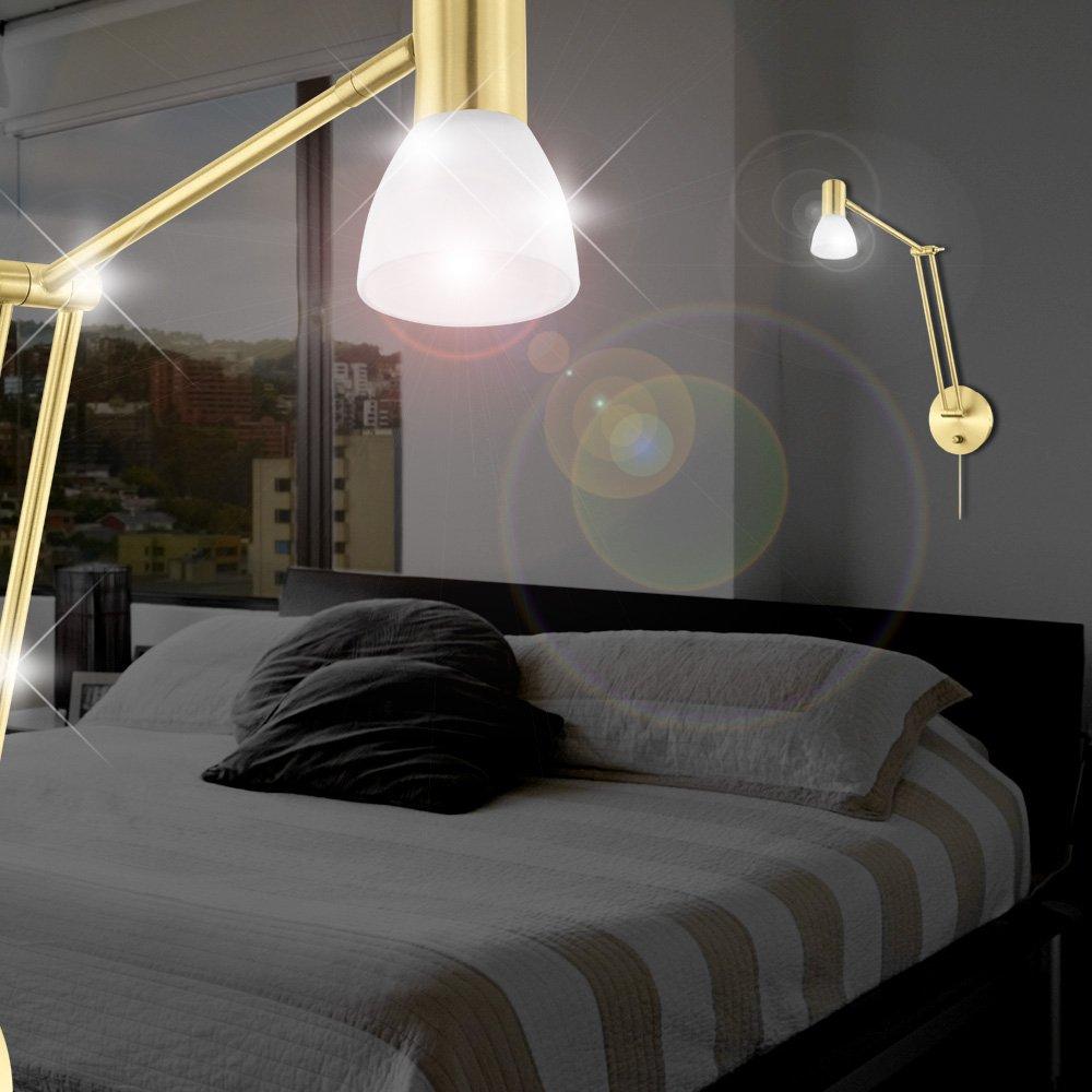 MIA Light Moderne LED Wandleuchte aus Glas weiß in Messing, Dreh & Schwenkbar