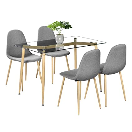 Minimalista Kitchen Dining Room Table for Four People with Transparent Tempered Glass Top and Wood Grain Table Legs Mid-Centaury Modern Coffee Table ...