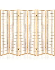 Artiss 6 Panel Room Dividers Wooden Foldable Privacy Screens (Colors: Black/Natural/White)