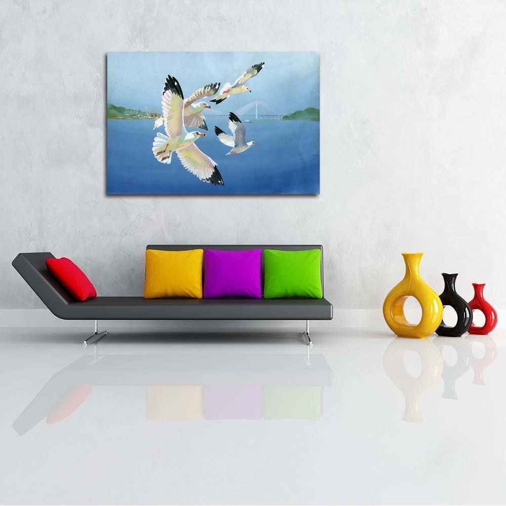 Pitaara x Box Watercolor Seagulls Unframed Canvas Painting 47.7 x Pitaara 32inch 7d89b1