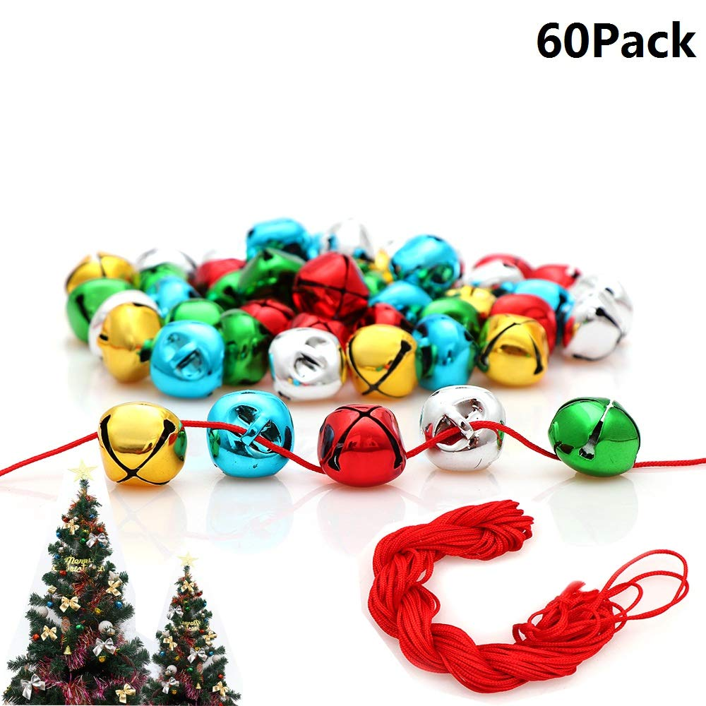Jingle Bells, 1 Inch Craft Bells Bulk DIY Bells Colorful Christmas Bells for Craft Festival Decoration Home Decoration, 60pcs(With Red Cord And Bowknots) Y wang-001