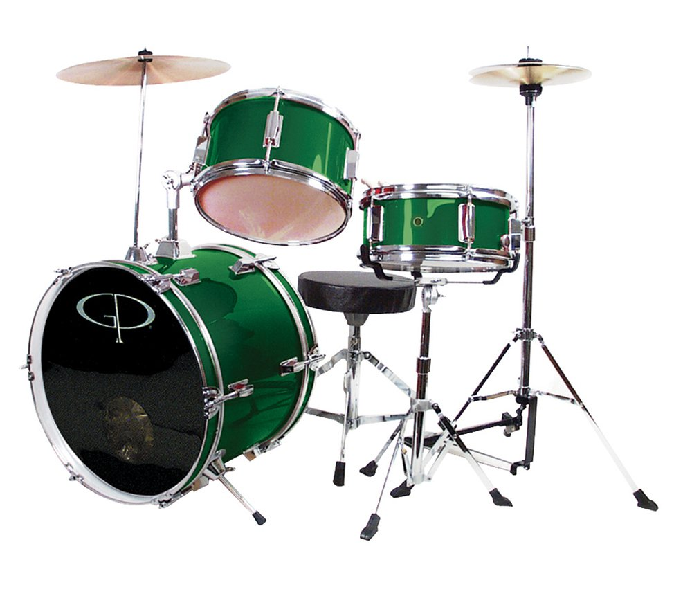 GP Percussion GP50G Complete Junior Drum Set (Green, 3-Piece Set) M & M Merchandisers Inc