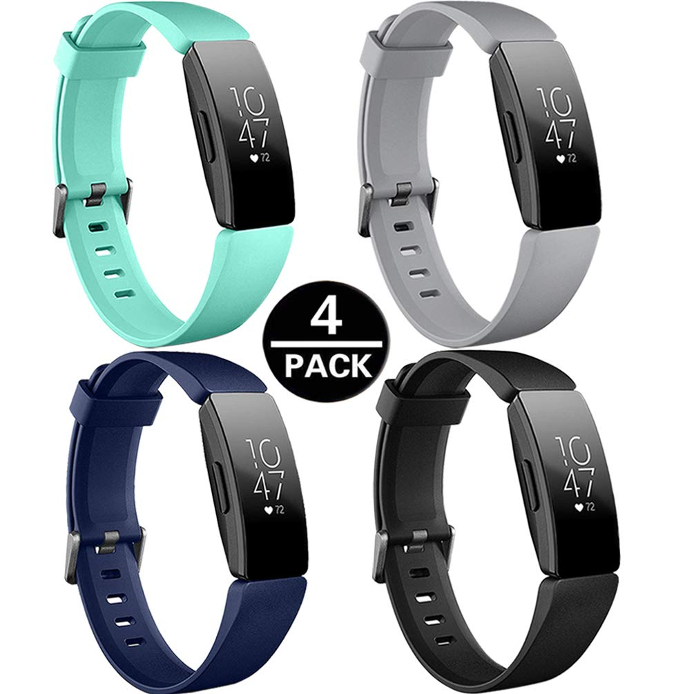 HQzon Compatible Bands//Clips Replacement for Fitbit Inspire /& Fitbit Inspire HR Fitness Tracker Made of Soft Comfortable Silicone(Band-4Pack-S)