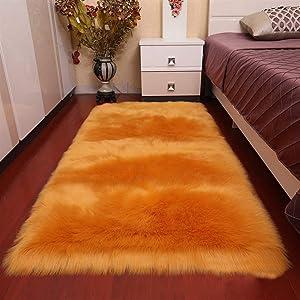 QIMO Faux Fur Rug,Sheepskin Rugs,Rectangular Carpet,Soft Shaggy Faux Fur Sheepskin Area Rugs for Bedroom Dorm Room Kids Baby Living Room Home Decorate Floor Rug