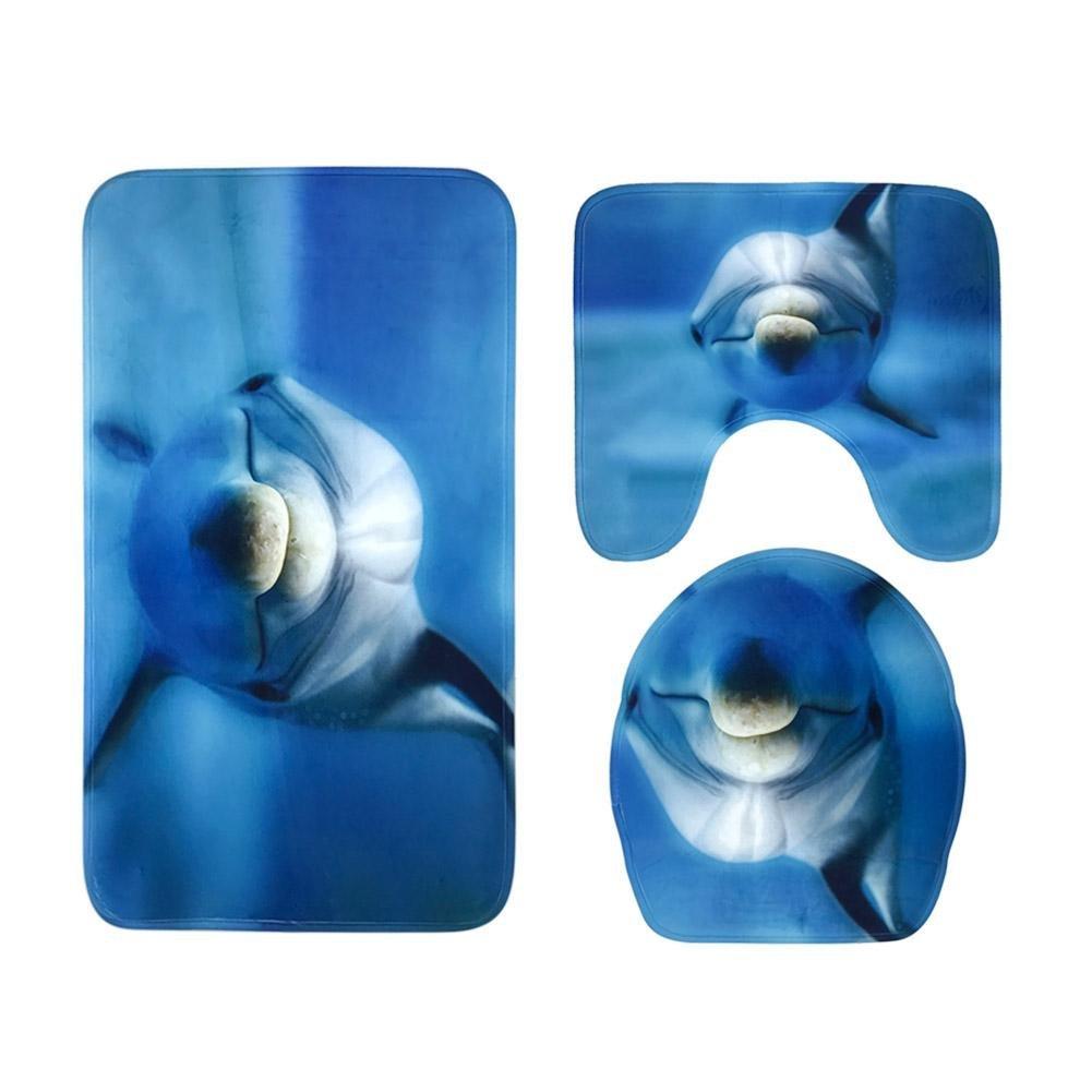 Matefield 3pcs Dolphins 3D Print Non Slip Water Absorbent Bath Mats Floor Rugs Carpet by Matefield