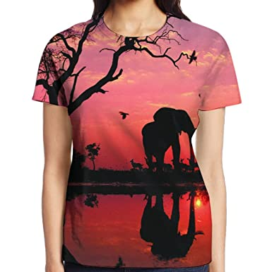 284bf0acb511 Amazon.com  UEBDLQZ Women s Short Sleeve Elephant T-Shirt Cotton Tee ...