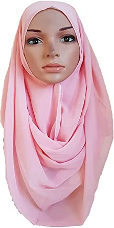 8a6d05b716c0 Ready to Wear Chiffon Hijab Double Loop Slip On Scarf Pull Over Crepe Shawl  Islamic Crepe