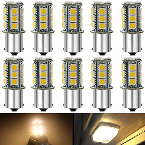 JAVR - Pack of 10-3000K Warm White 1156 BA15S 1141 1003 1073 7506 LED Bulbs 5050 18-SMD Replacement Lamps for 12V Interior RV Camper Trailer Lighting Boat Yard Light Bulbs (Best Warm Led Bulb)