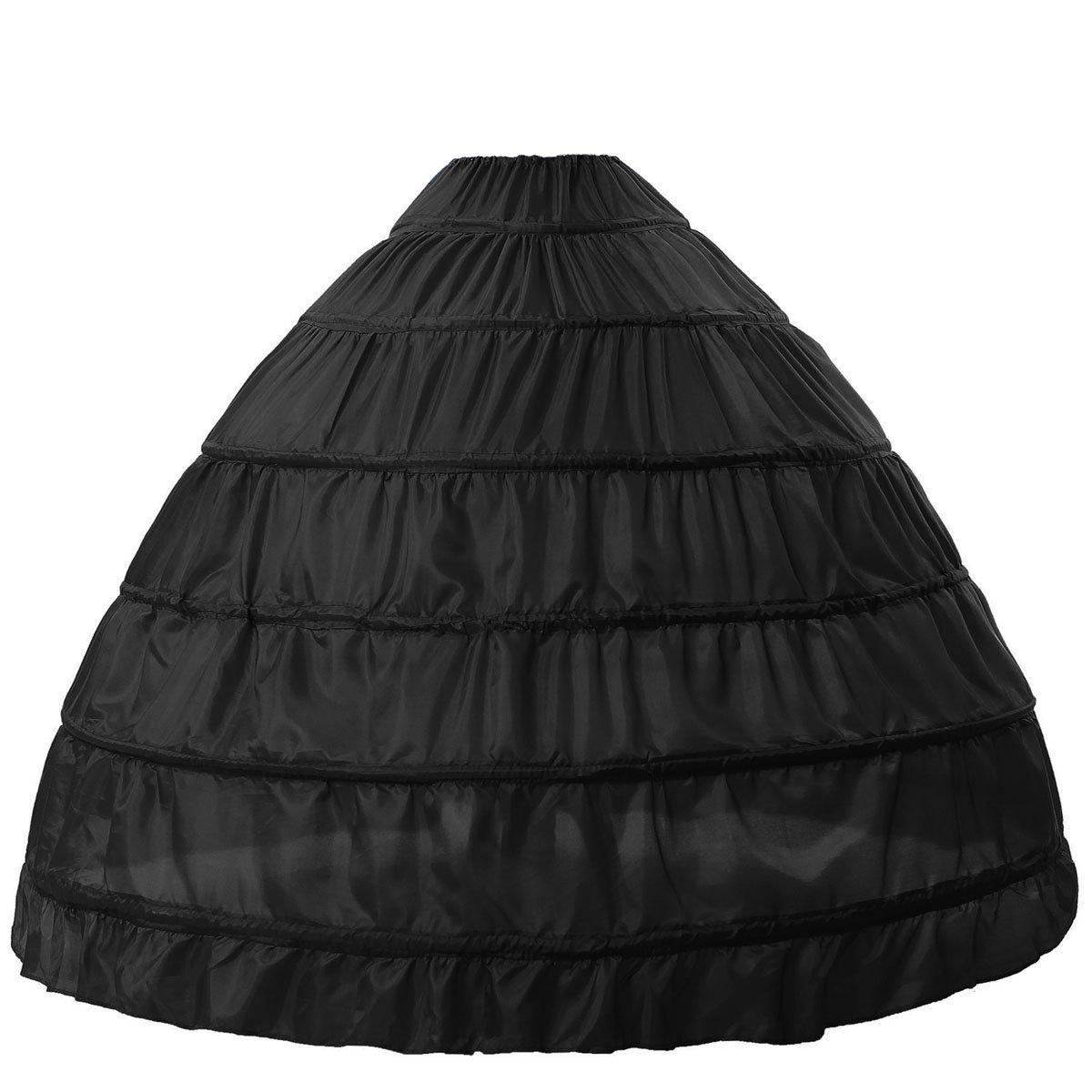 BEAUTELICATE Sottogonna Petticoat Donna Gonna Lunga 6 Cerchio Crinolina Rockabilly Vintage Sottoveste per Vestito Abito da Sposa Anni 50 Bianca Nera Petticoat-08-Orange