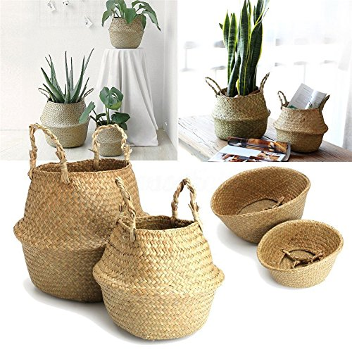Taloyer Folding Natural Seagrass Belly Basket Large Storage Plant Nursery Laundry Basket with Handles -