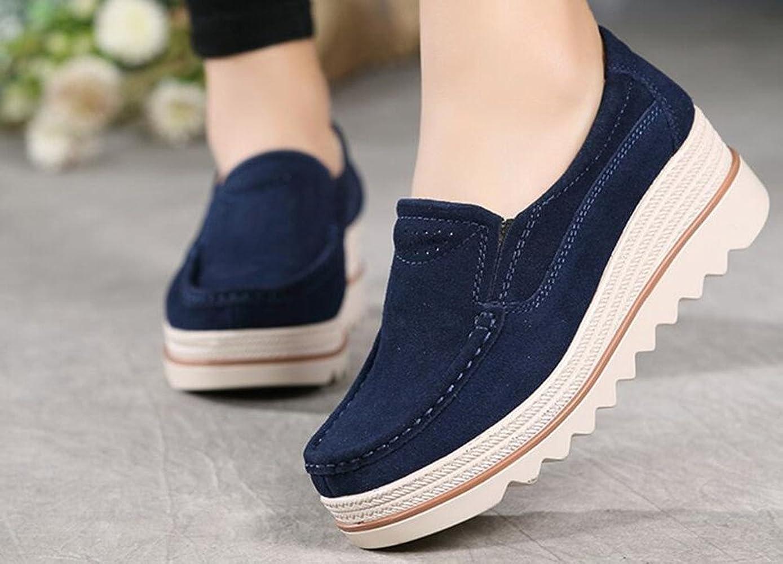 el más nuevo 834d0 fa5d4 Mujer Mocasines Plataforma Casual Loafers Primavera Verano Zapatos de Cuña  5cm Negro Azul Caqui 35-42