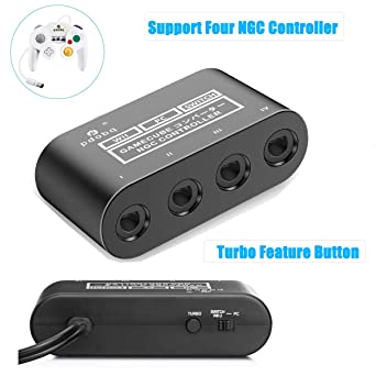 GameCube Controller Adapter  Super Smash Bros GameCube Adapter for Wii u,  Pc, Switch  No Driver Need and Easy to Use  4 Port Black Gamecube