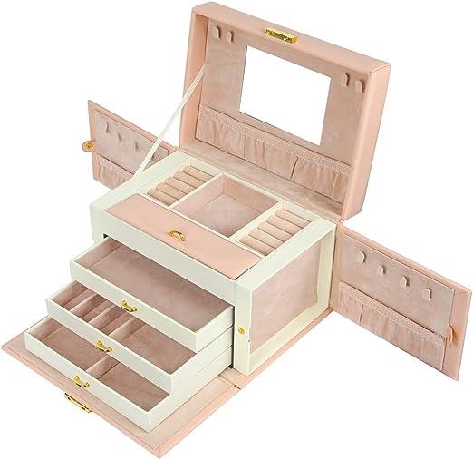 Meerveil Caja Joyero, Caja de Joyería 4 Niveles Cuero PU Caja ...