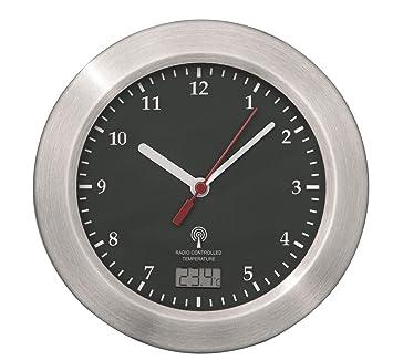 Mebus Funk Wanduhr Aluminium Saugnapfe Thermometer Uhr 17 Cm Funkuhr