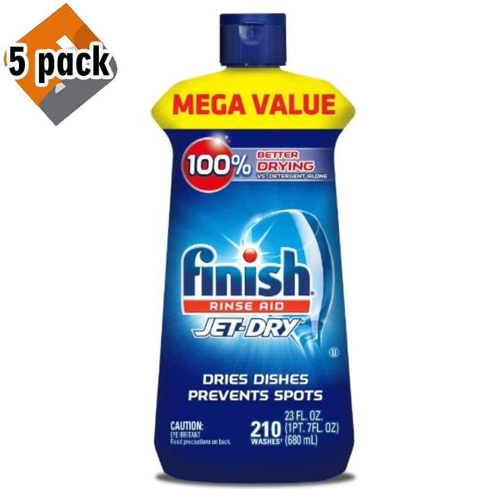 Finish Jet-Dry Rinse Aid, 23oz, Dishwasher Rinse Agent & Drying Agent (5-Pack)