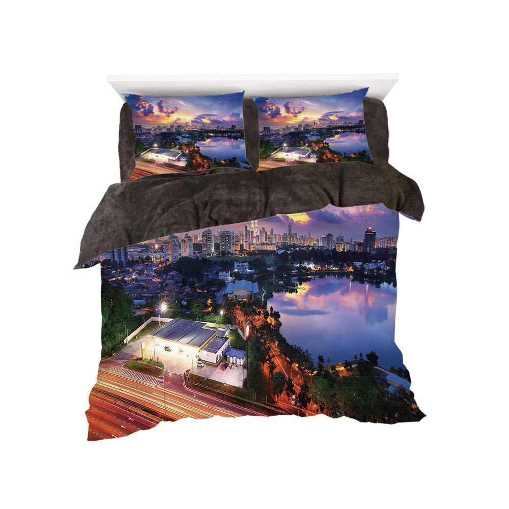 iPrint フランネル布団カバー4点セット ベッドリネン 冬休み柄 ブルックリン橋 スカイスクレーパー 有名なメトロポリス マンハッタンUSA マルチカラー bed width 4ft(120cm) BotingFLR_hei_04239_twin 120 B07L1XB6B4 カラー19 bed width 4ft(120cm)