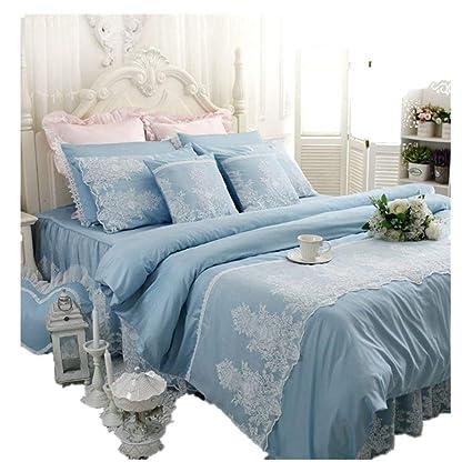 Abreeze White Ruffled Duvet Cover Sets Korean Princess Blue Bedding Girl Bedroom Sets Lace Design Twin 40PCS New Designer Bedroom Sets