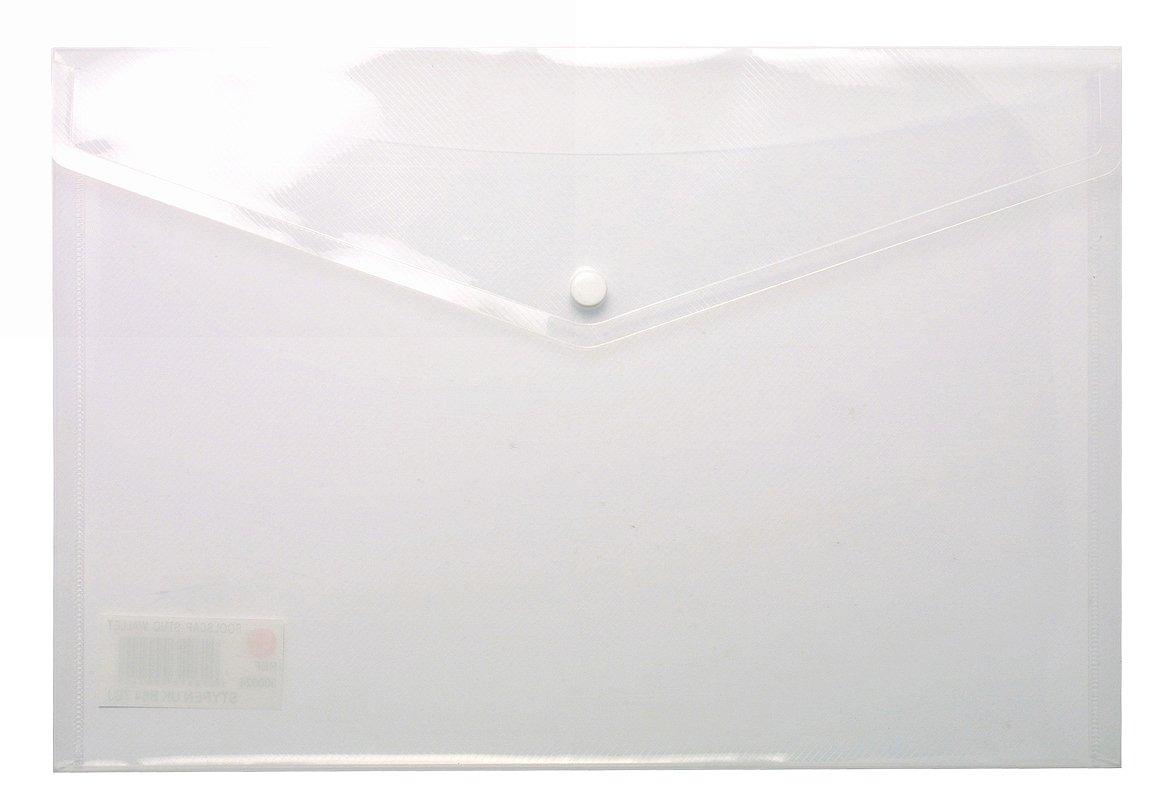 A4 Carpeta Cartera de Stud Popper, transparente plástico transparente Popper, soporte de documentos archivo juego de 50 5a60f6
