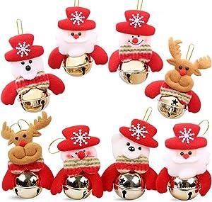 AtRenty Christmas Bells Decorations for Home Ornaments for Tree Jingle Door Hanging, Santa, Snowman, Reindeer, Bear (8 Pcs)