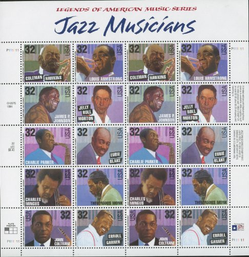 Music Stamp Series - Jazz Musicians Sheet of Twenty 32 Cent Stamps Scott 2983-92 by USPS